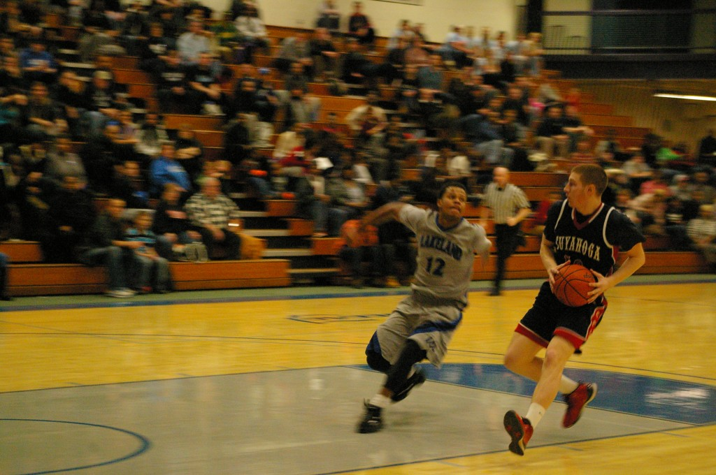 No. 10 Conor Mabry attempts to score some points here at Lakeland Community College in Kirtland on Feb. 20.
