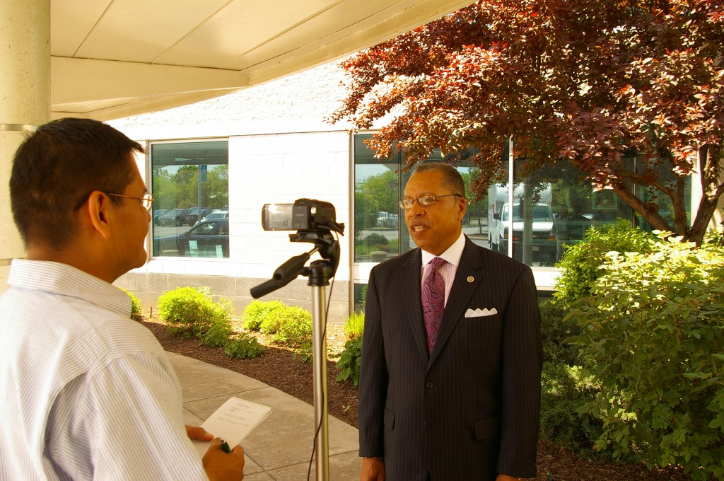 Tri-C President-elect Dr. Alex Johnson met with Voice News at a meet and greet in his honor May 17 at the Institutional Advancement building in Cleveland.  (Photo by Jack Hagan)