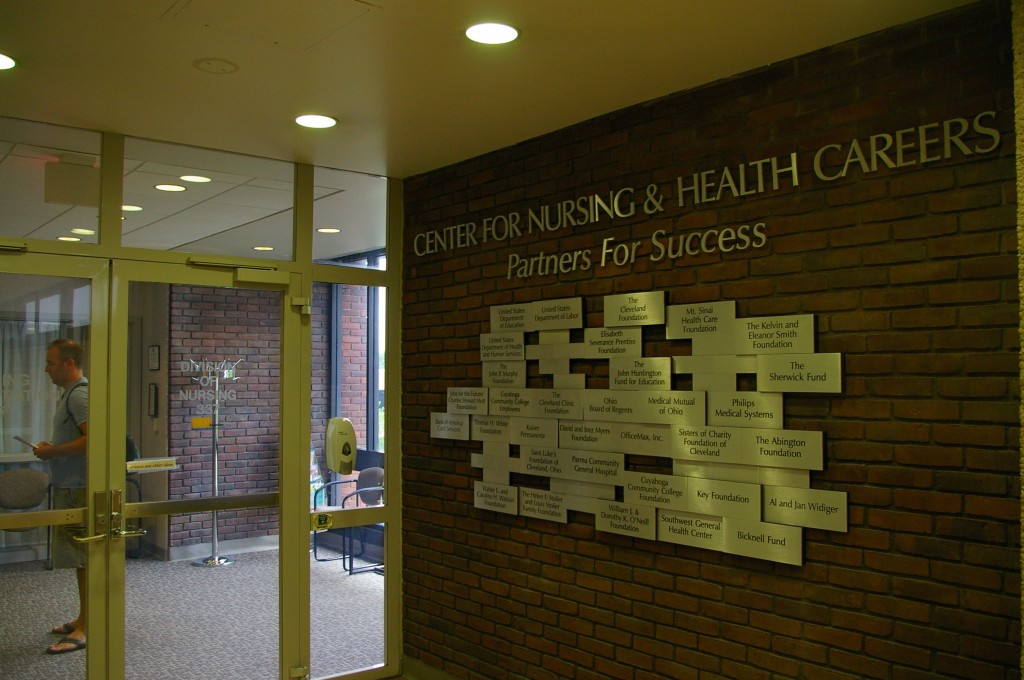 The offices of the nursing program at Tri-C, located in the Health Careers and Sciences building at the Metro Campus. Photo by Bronson Peshlakai