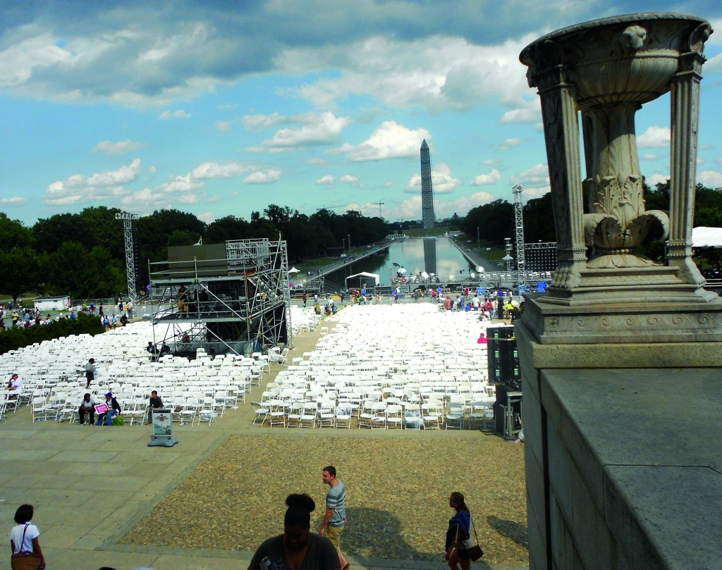A view looking across the Washington Mall from the Lincoln Monument where the 50th Anniversary March on Washington was about to begin on Aug. 28.  Photos by J.C. Robinson