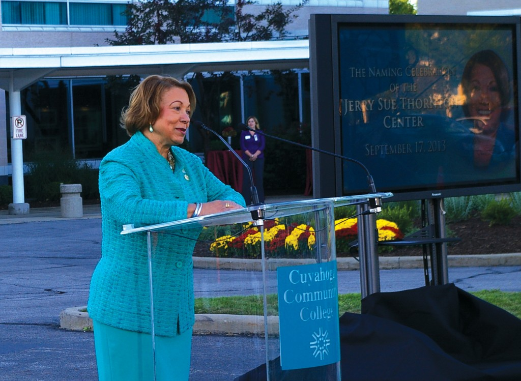 President Emeritus Jerry Sue Thornton speaks to a crowd of Tri-C stakeholders at the naming ceremony of the building named after her on Sept. 17.  Photos by Bronson Peshlakai