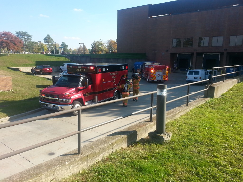 Parma Fire Department trucks arrived at the Tri-C Western Campus Oct. 30, to investigate a water-monitoring alarm system. Photo by Bronson Peshlakai