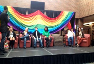 Students take part in a question and answer session about what it means to be a part of the LGBT community. The event took place Oct. 10 in the Tri-C West North Galleria.  Photo by Michelle Nicopolis.