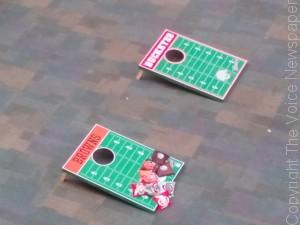 Corn Hole boards, ready for use at today's Game Day MMXIV event at West Campus.  (Photo by Jeremy Hopkins)