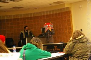 Club members share an example of a hand-made oni mask based on traditional design. (Photo by Jeremy Hopkins)