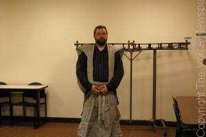 Club President Ed Jacobs in traditional Setsubon ceremonial samurai garb. (Photo by Jeremy Hopkins)