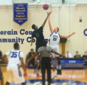 The opening tip between Cuyahoga Community College and Lorain County Community College on Feb. 11 Photo by Mitchel Guy