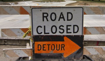 A road closed sign prevents students from entering through pleasant valley. Photo By Don Hill.