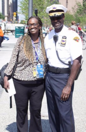 Cleveland Chief of Police, Calvin Williams and The Voice Editor-in-Chief, Tracy Hudson on Public Square during Day 1 of the RNC.